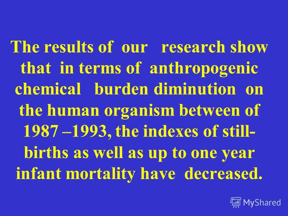 The results of our research show that in terms of anthropogenic chemical burden diminution on the human organism between of 1987 –1993, the indexes of still- births as well as up to one year infant mortality have decreased.