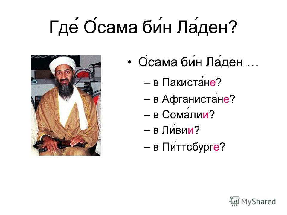 Где Осама бин Ладен? Осама бин Ладен … –в Пакистане? –в Афганистане? –в Сомалии? –в Ливии? –в Питтсбурге?
