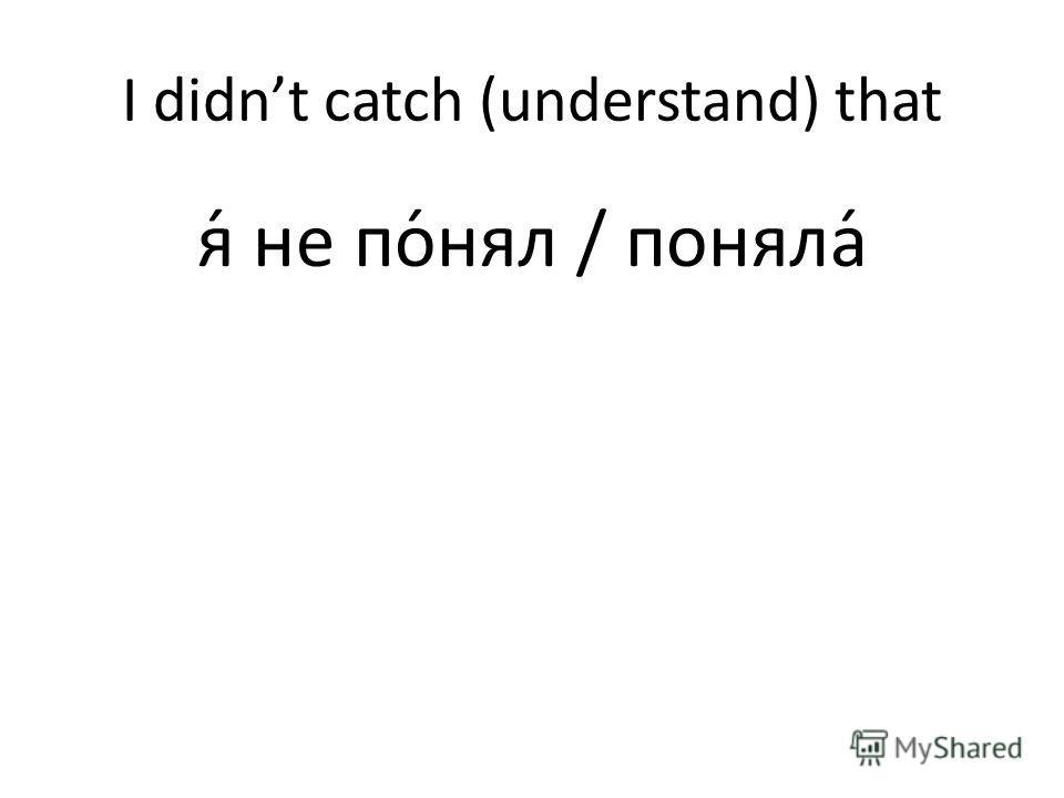 I didnt catch (understand) that я́ не по́нял / поняла́