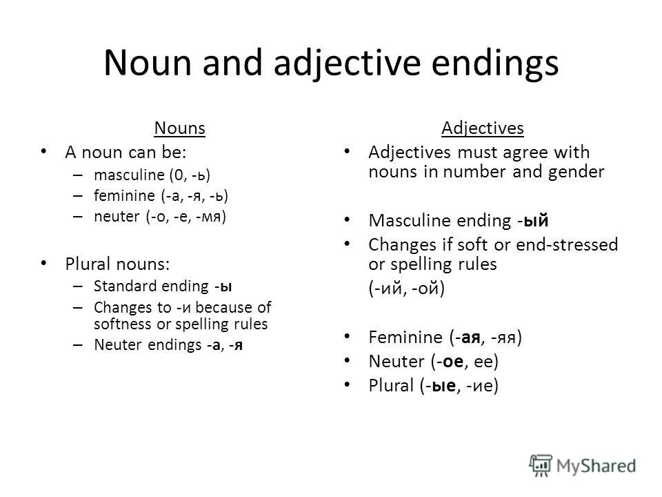 Noun and adjective endings Nouns A noun can be: – masculine (0, -ь) – feminine (-а, -я, -ь) – neuter (-о, -е, -мя) Plural nouns: – Standard ending -ы – Changes to -и because of softness or spelling rules – Neuter endings -а, -я Adjectives Adjectives