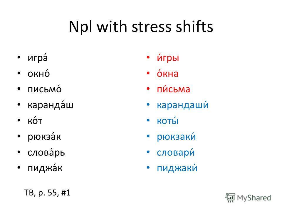 Npl with stress shifts игра́ окно́ письмо́ каранда́ш ко́т рюкза́к слова́рь пиджа́к игры окна письма карандаши коты рюкзаки словари пиджаки TB, p. 55, #1