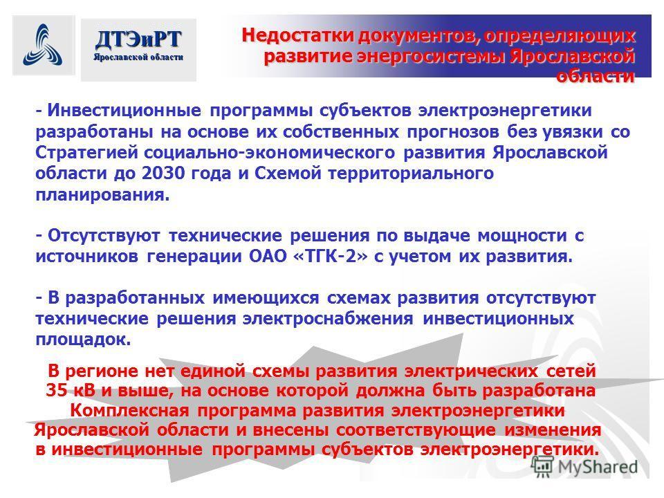 ДТЭиРТ Ярославской области - Инвестиционные программы субъектов электроэнергетики разработаны на основе их собственных прогнозов без увязки со Стратегией социально-экономического развития Ярославской области до 2030 года и Схемой территориального пла