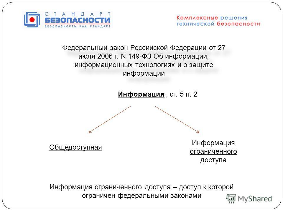 Федеральный закон Российской Федерации от 27 июля 2006 г. N 149-ФЗ Об информации, информационных технологиях и о защите информации Информация, ст. 5 п. 2 Общедоступная Информация ограниченного доступа Информация ограниченного доступа – доступ к котор