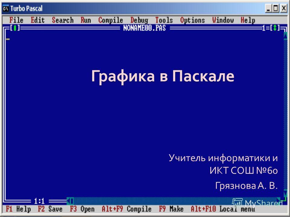 Графика в Паскале Учитель информатики и ИКТ СОШ 60 Грязнова А. В.