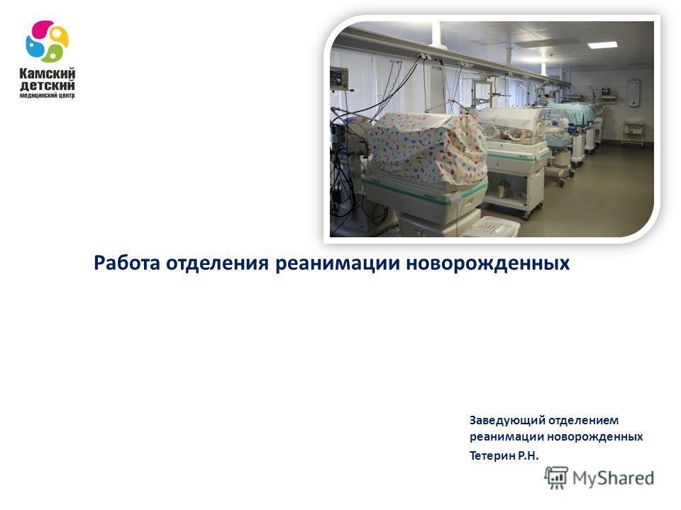 Работа отделения реанимации новорожденных Заведующий отделением реанимации новорожденных Тетерин Р.Н.