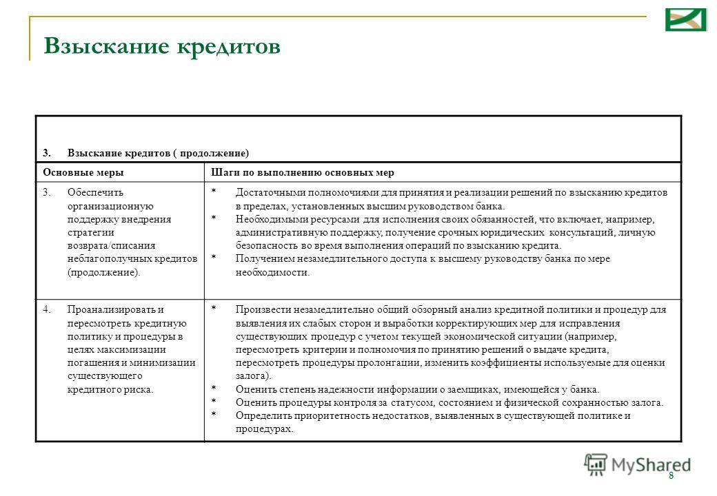 8 3. Взыскание кредитов ( продолжение) Основные мерыШаги по выполнению основных мер 3.Обеспечить организационную поддержку внедрения стратегии возврата/списания неблагополучных кредитов (продолжение). *Достаточными полномочиями для принятия и реализа