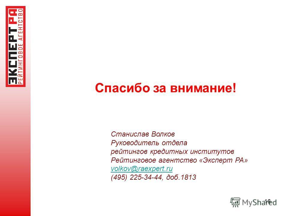 16 Спасибо за внимание! Станислав Волков Руководитель отдела рейтингов кредитных институтов Рейтинговое агентство «Эксперт РА» volkov@raexpert.ru@raexpert.ru (495) 225-34-44, доб.1813