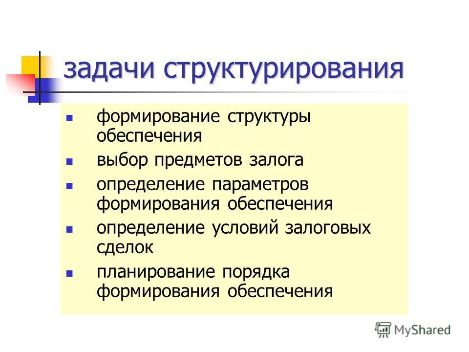 задачи структурирования формирование структуры обеспечения выбор предметов залога определение параметров формирования обеспечения определение условий залоговых сделок планирование порядка формирования обеспечения