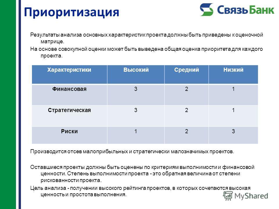 Приоритизация Результаты анализа основных характеристик проекта должны быть приведены к оценочной матрице. На основе совокупной оценки может быть выведена общая оценка приоритета для каждого проекта. Производится отсев малоприбыльных и стратегически