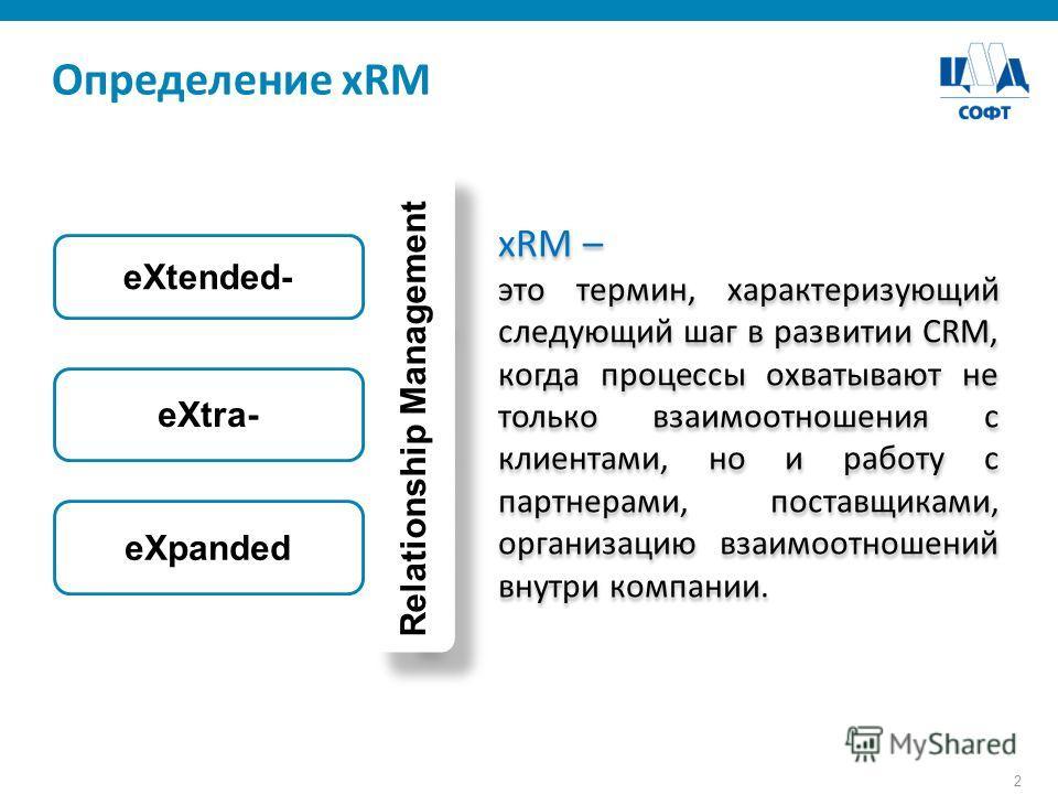 2 xRM – это термин, характеризующий следующий шаг в развитии CRM, когда процессы охватывают не только взаимоотношения с клиентами, но и работу с партнерами, поставщиками, организацию взаимоотношений внутри компании. xRM – это термин, характеризующий