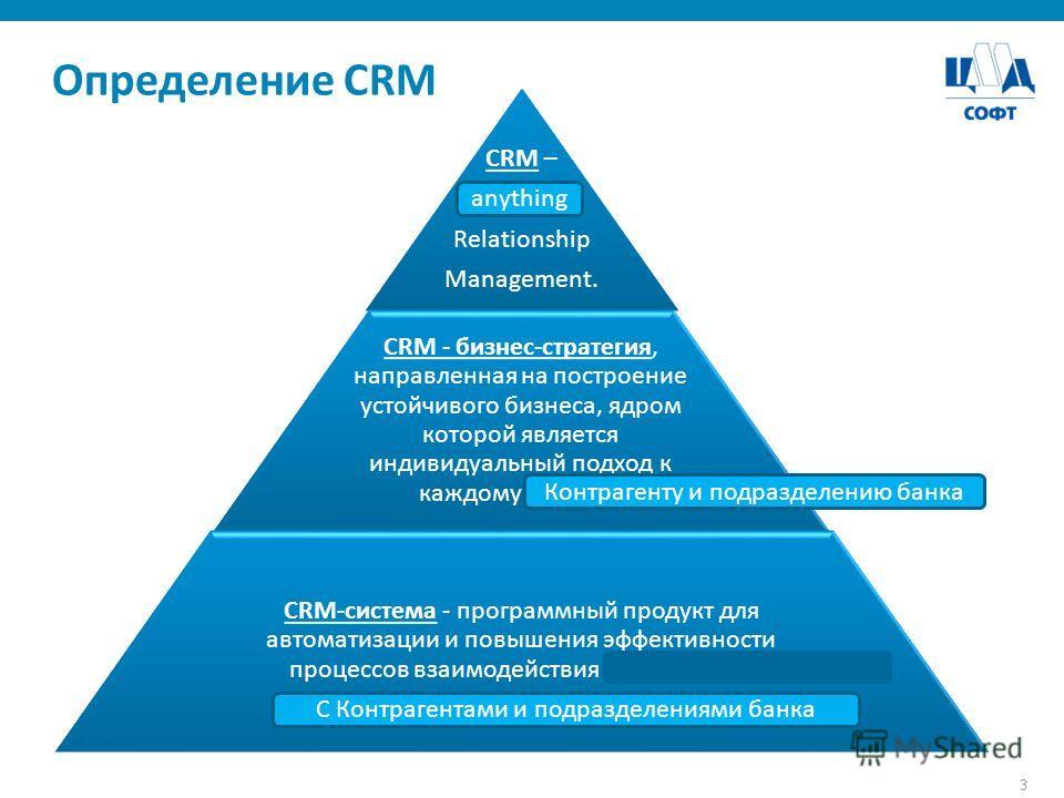 3 Определение CRM CRM – Customer Relationship Management. CRM - бизнес-стратегия, направленная на построение устойчивого бизнеса, ядром которой является индивидуальный подход к каждому клиенту. CRM-система - программный продукт для автоматизации и по