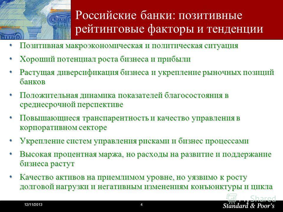 412/11/2013 Российские банки: позитивные рейтинговые факторы и тенденции Позитивная макроэкономическая и политическая ситуация Позитивная макроэкономическая и политическая ситуация Хороший потенциал роста бизнеса и прибыли Хороший потенциал роста биз