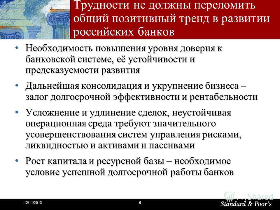 612/11/2013 Трудности не должны переломить общий позитивный тренд в развитии российских банков Необходимость повышения уровня доверия к банковской системе, её устойчивости и предсказуемости развития Необходимость повышения уровня доверия к банковской
