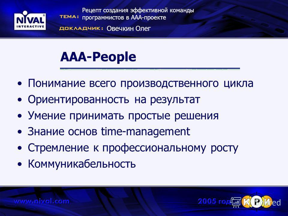 AAA-People Понимание всего производственного цикла Ориентированность на результат Умение принимать простые решения Знание основ time-management Стремление к профессиональному росту Коммуникабельность Рецепт создания эффективной команды программистов