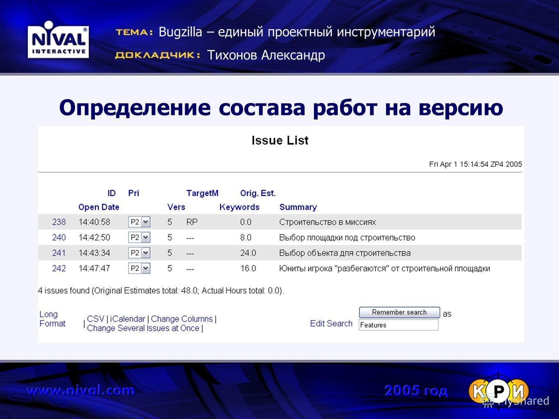 Определение состава работ на версию Bugzilla – единый проектный инструментарий Тихонов Александр