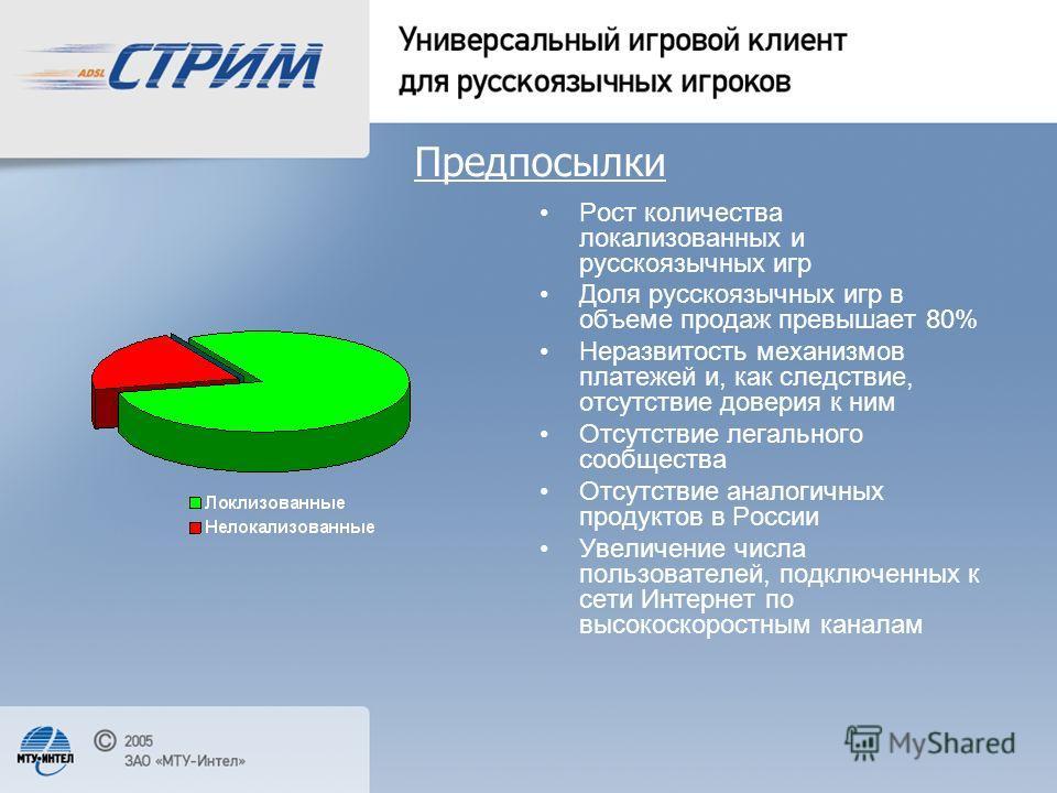 Предпосылки Рост количества локализованных и русскоязычных игр Доля русскоязычных игр в объеме продаж превышает 80% Неразвитость механизмов платежей и, как следствие, отсутствие доверия к ним Отсутствие легального сообщества Отсутствие аналогичных пр