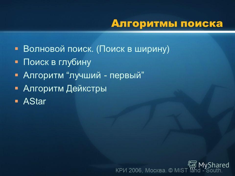 КРИ 2006, Москва. © MiST land - South. Алгоритмы поиска Волновой поиск. (Поиск в ширину) Поиск в глубину Алгоритм лучший - первый Алгоритм Дейкстры АStar