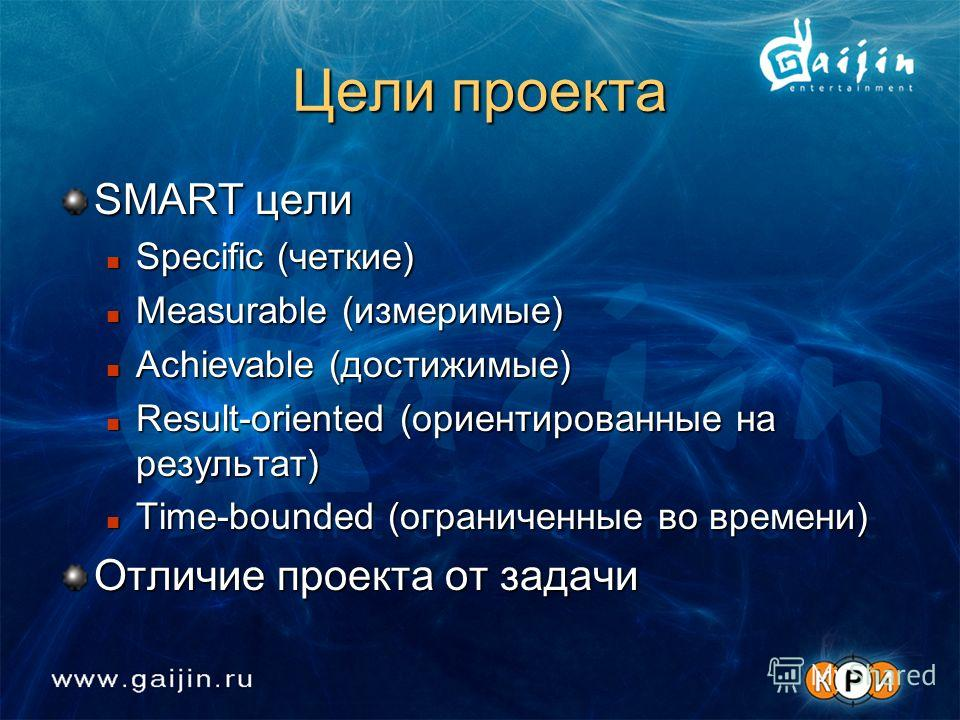 Цели проекта SMART цели Specific (четкие) Specific (четкие) Measurable (измеримые) Measurable (измеримые) Achievable (достижимые) Achievable (достижимые) Result-oriented (ориентированные на результат) Result-oriented (ориентированные на результат) Ti