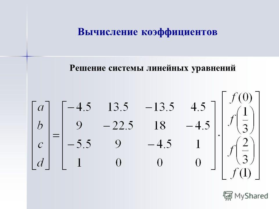 Вычисление коэффициентов Решение системы линейных уравнений