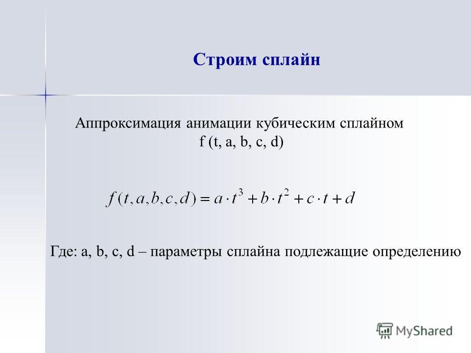 Строим сплайн Аппроксимация анимации кубическим сплайном f (t, a, b, c, d) Где: a, b, c, d – параметры сплайна подлежащие определению