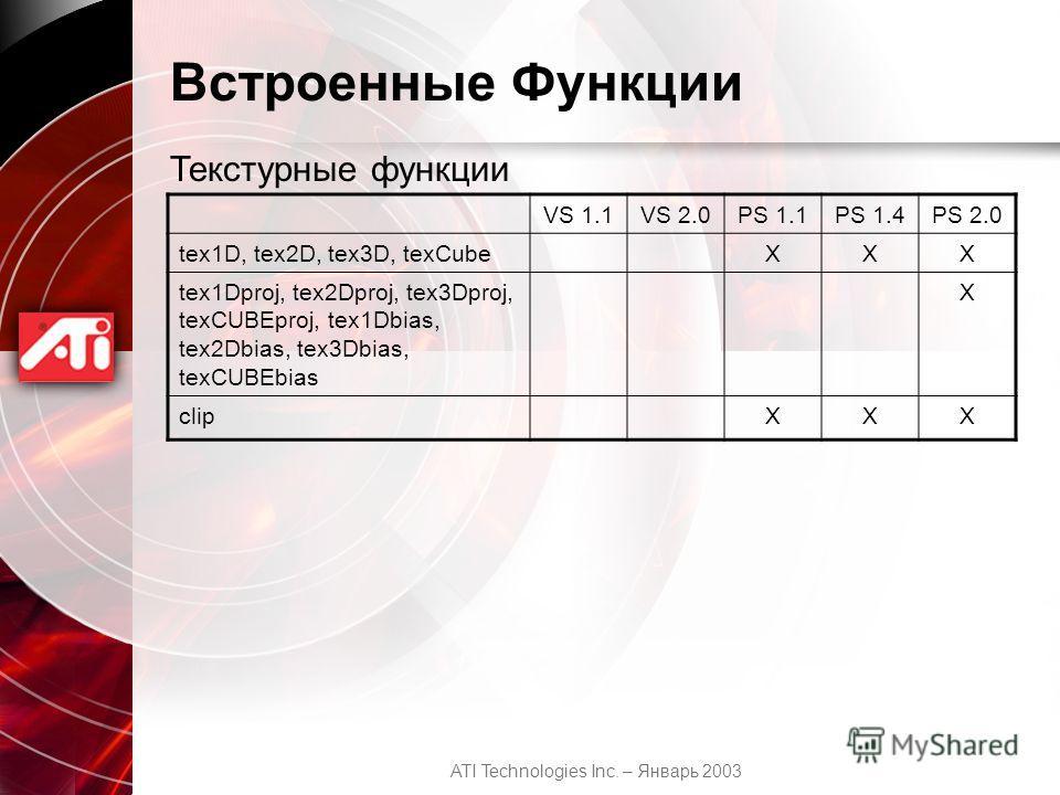 ATI Technologies Inc. – Январь 2003 Встроенные Функции Текстурные функции VS 1.1VS 2.0PS 1.1PS 1.4PS 2.0 tex1D, tex2D, tex3D, texCubeXXX tex1Dproj, tex2Dproj, tex3Dproj, texCUBEproj, tex1Dbias, tex2Dbias, tex3Dbias, texCUBEbias X clipXXX