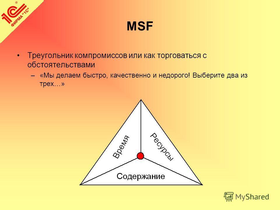 MSF Треугольник компромиссов или как торговаться с обстоятельствами –«Мы делаем быстро, качественно и недорого! Выберите два из трех…»