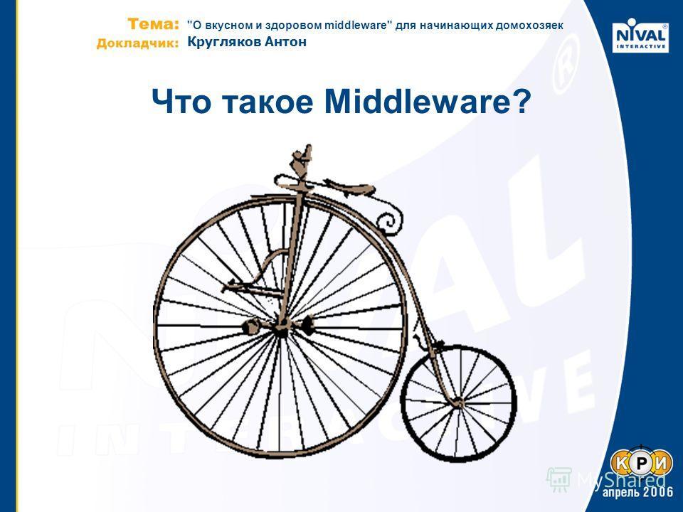 О вкусном и здоровом middleware для начинающих домохозяек Кругляков Антон Что такое Middleware?