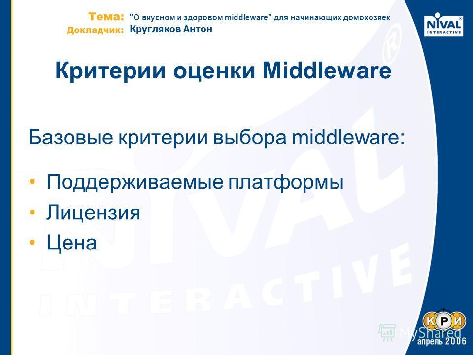 О вкусном и здоровом middleware для начинающих домохозяек Кругляков Антон Критерии оценки Middleware Поддерживаемые платформы Лицензия Цена Базовые критерии выбора middleware: