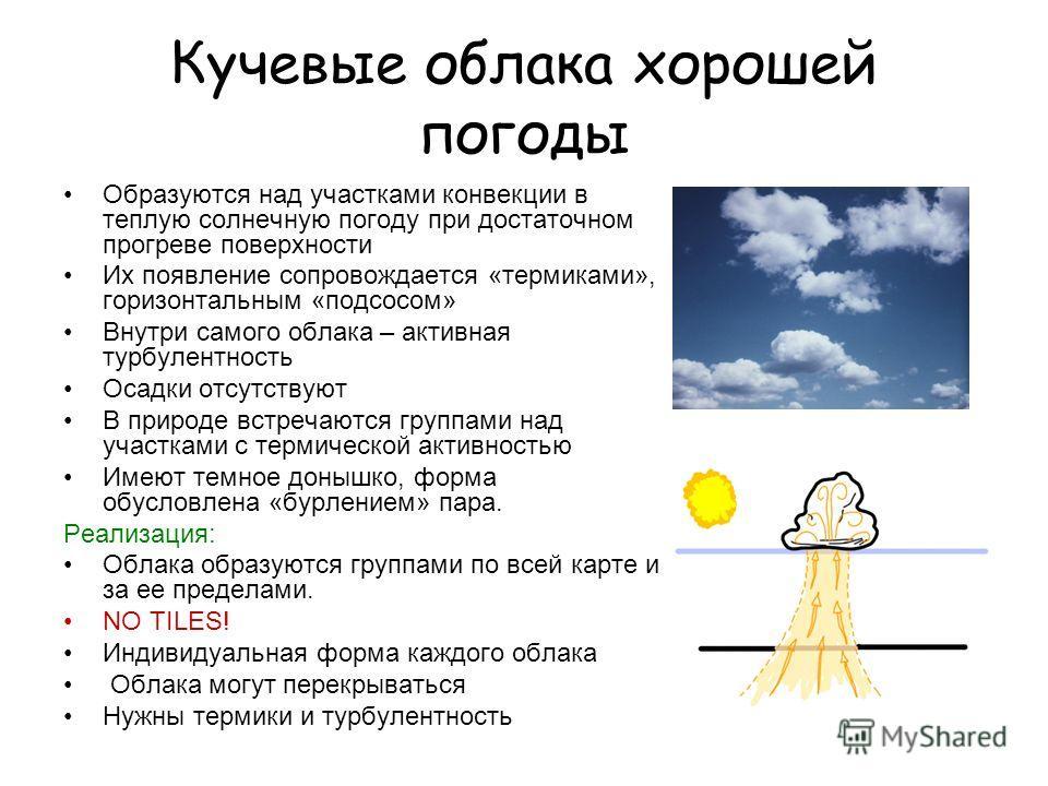 Кучевые облака хорошей погоды Образуются над участками конвекции в теплую солнечную погоду при достаточном прогреве поверхности Их появление сопровождается «термиками», горизонтальным «подсосом» Внутри самого облака – активная турбулентность Осадки о