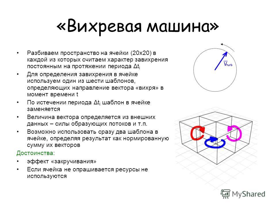 «Вихревая машина» Разбиваем пространство на ячейки (20x20) в каждой из которых считаем характер завихрения постоянным на протяжении периода Δt i Для определения завихрения в ячейке используем один из шести шаблонов, определяющих направление вектора «