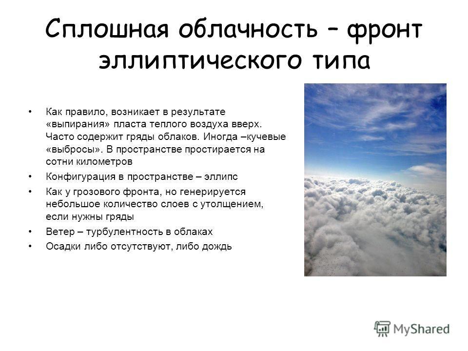 Сплошная облачность – фронт эллиптического типа Как правило, возникает в результате «выпирания» пласта теплого воздуха вверх. Часто содержит гряды облаков. Иногда –кучевые «выбросы». В пространстве простирается на сотни километров Конфигурация в прос