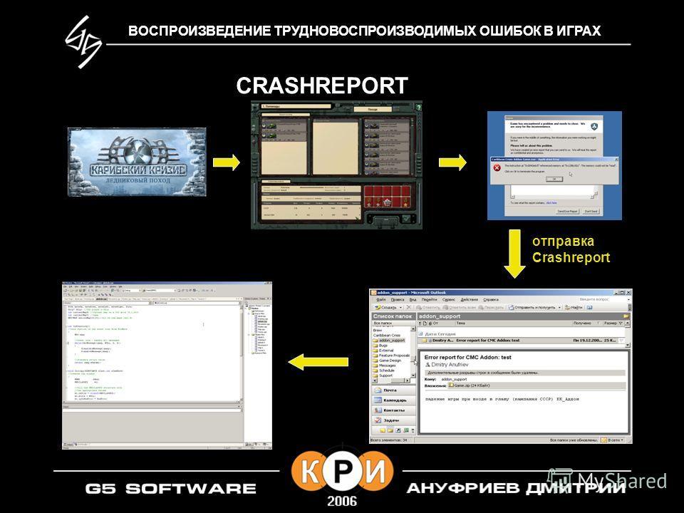 ВОСПРОИЗВЕДЕНИЕ ТРУДНОВОСПРОИЗВОДИМЫХ ОШИБОК В ИГРАХ CRASHREPORT отправка Crashreport