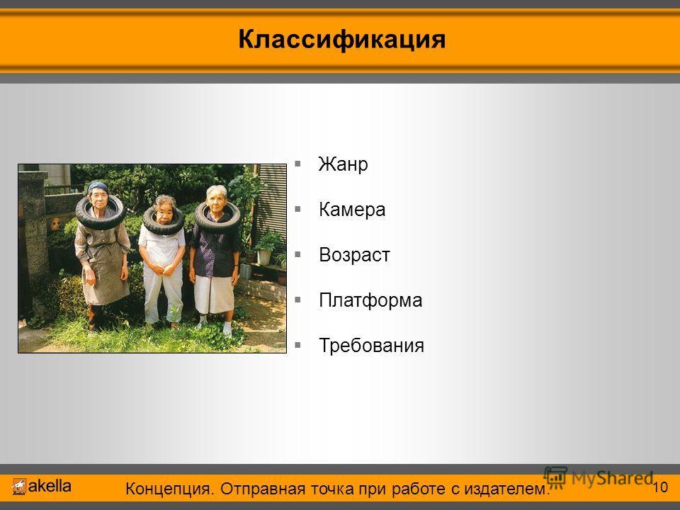 Концепция. Отправная точка при работе с издателем. 2006 Классификация 10 Жанр Камера Возраст Платформа Требования