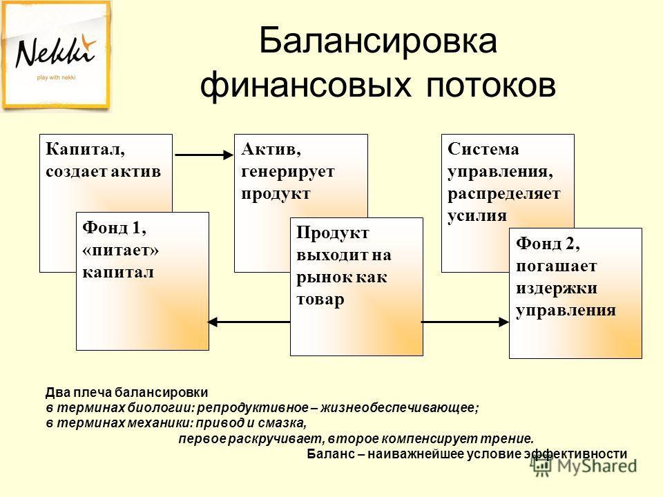Балансировка финансовых потоков Два плеча балансировки в терминах биологии: репродуктивное – жизнеобеспечивающее; в терминах механики: привод и смазка, первое раскручивает, второе компенсирует трение. Баланс – наиважнейшее условие эффективности Актив