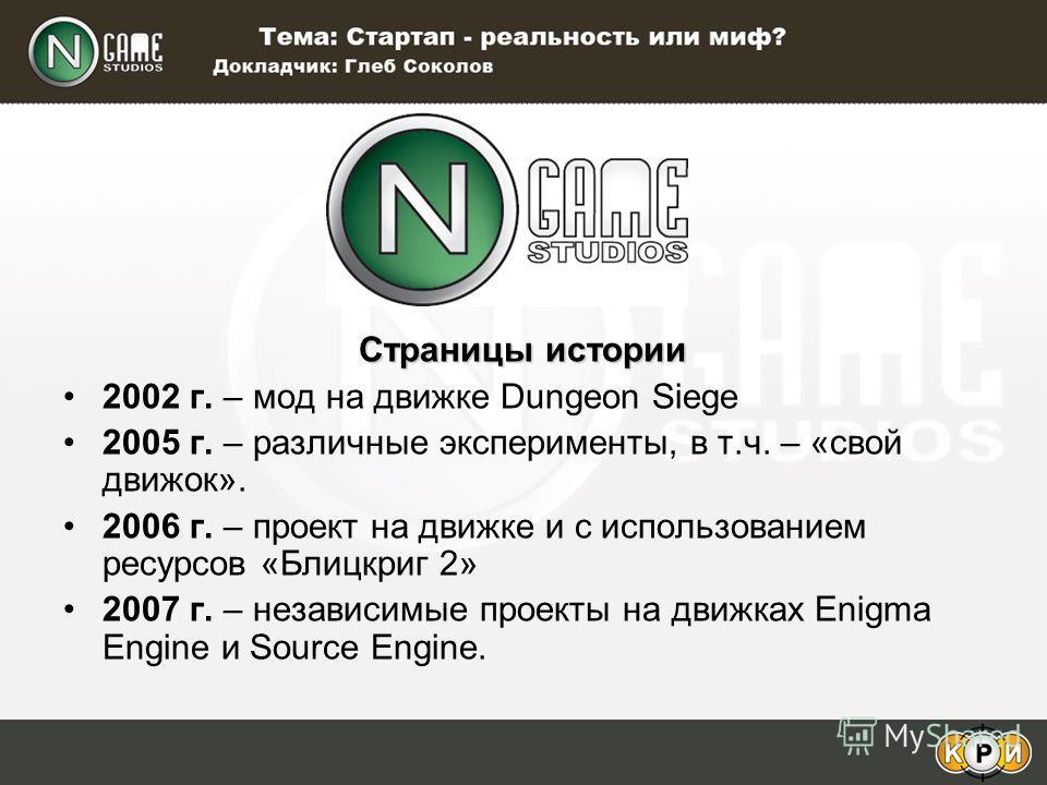 Страницы истории 2002 г. – мод на движке Dungeon Siege 2005 г. – различные эксперименты, в т.ч. – «свой движок». 2006 г. – проект на движке и с использованием ресурсов «Блицкриг 2» 2007 г. – независимые проекты на движках Enigma Engine и Source Engin