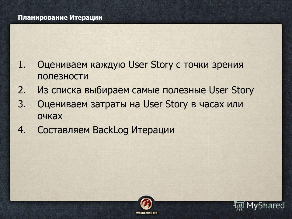 Планирование Итерации 1.Оцениваем каждую User Story с точки зрения полезности 2.Из списка выбираем самые полезные User Story 3.Оцениваем затраты на User Story в часах или очках 4.Составляем BackLog Итерации
