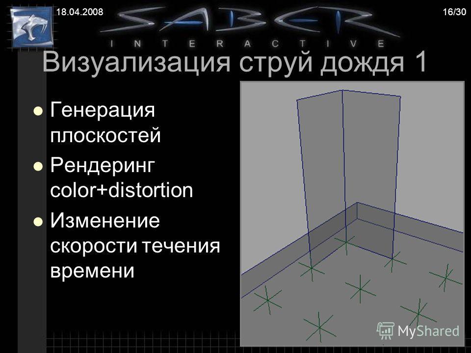 18.04.200816/30 Визуализация струй дождя 1 Генерация плоскостей Рендеринг color+distortion Изменение скорости течения времени