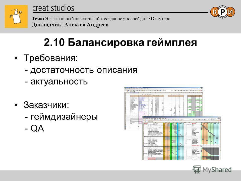 Тема: Эффективный левел-дизайн: создание уровней для 3D шутера Докладчик: Алексей Андреев 2.10 Балансировка геймплея Требования: - достаточность описания - актуальность Заказчики: - геймдизайнеры - QA