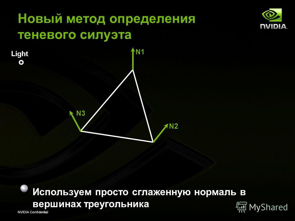 NVIDIA Confidential N1 Light N2 N3 Новый метод определения теневого силуэта Используем просто сглаженную нормаль в вершинах треугольника