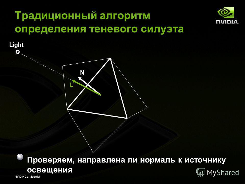 NVIDIA Confidential Проверяем, направлена ли нормаль к источнику освещения Light L N Традиционный алгоритм определения теневого силуэта