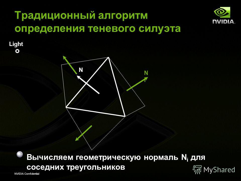 NVIDIA Confidential Вычисляем геометрическую нормаль N i для соседних треугольников Light NiNi N Традиционный алгоритм определения теневого силуэта