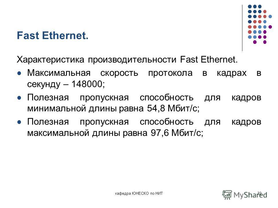 Fast Ethernet. Характеристика производительности Fast Ethernet. Максимальная скорость протокола в кадрах в секунду – 148000; Полезная пропускная способность для кадров минимальной длины равна 54,8 Мбит/с; Полезная пропускная способность для кадров ма