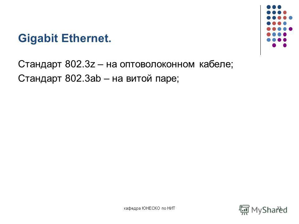 Gigabit Ethernet. Стандарт 802.3z – на оптоволоконном кабеле; Стандарт 802.3ab – на витой паре; кафедра ЮНЕСКО по НИТ33
