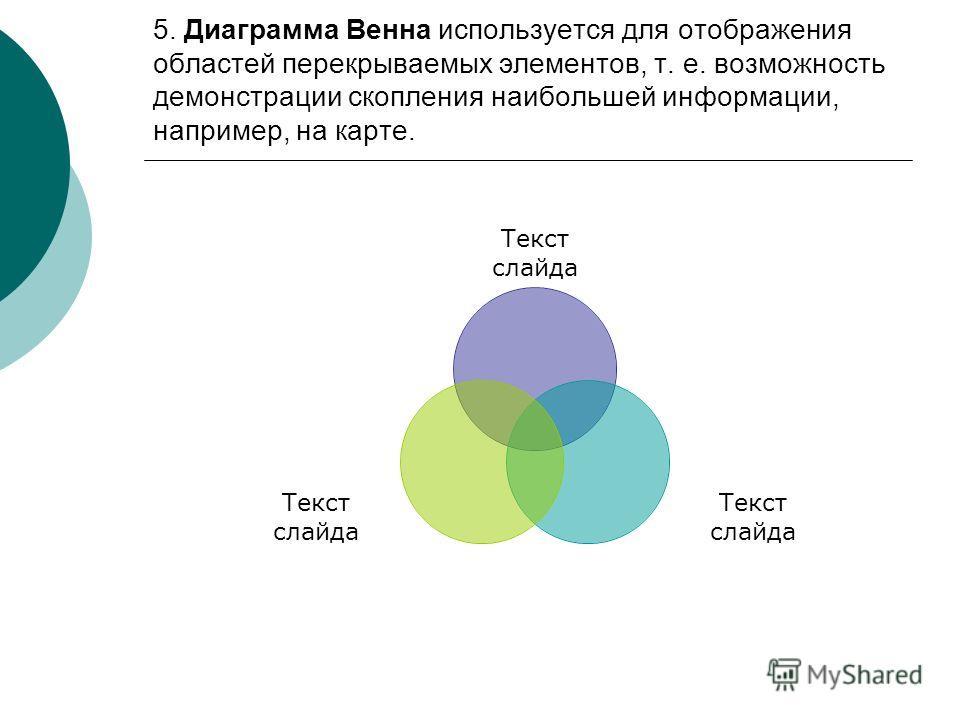 5. Диаграмма Венна используется для отображения областей перекрываемых элементов, т. е. возможность демонстрации скопления наибольшей информации, например, на карте. Текст слайда
