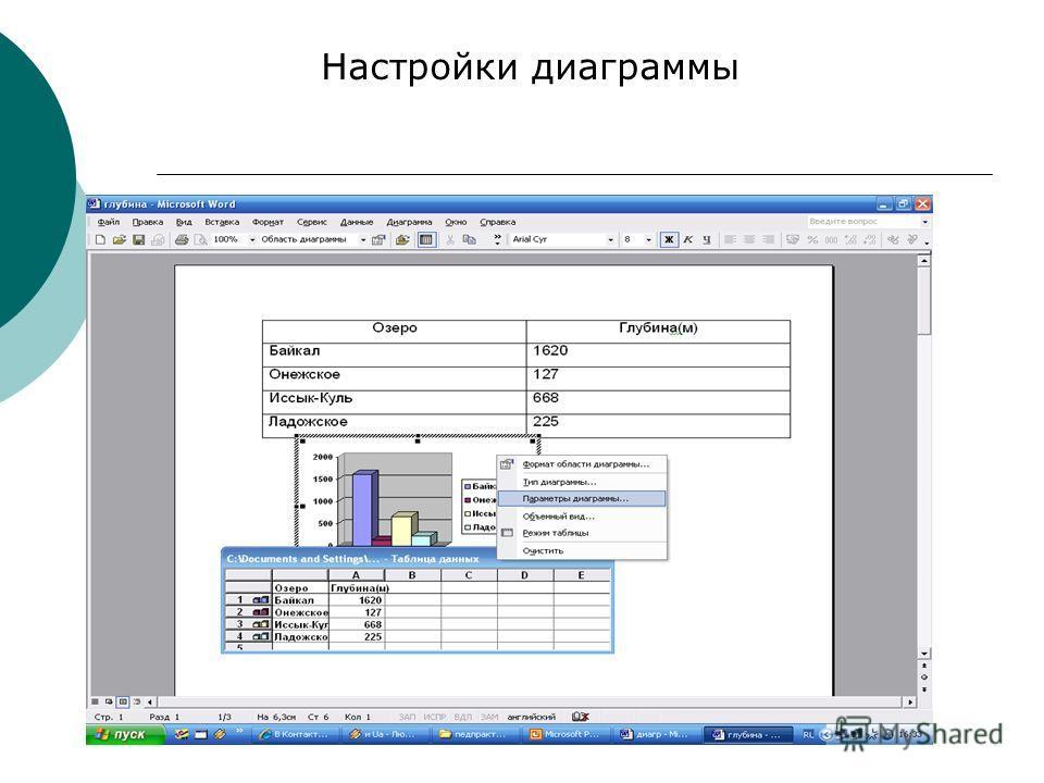 Настройки диаграммы