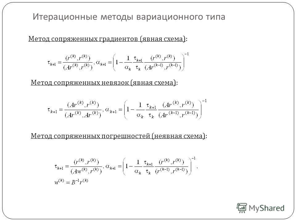 Метод сопряженных градиентов (явная схема): Метод сопряженных невязок (явная схема): Метод сопряженных погрешностей (неявная схема):