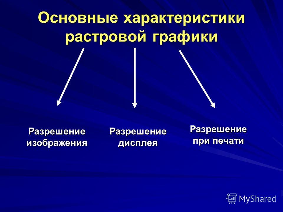 Основные характеристики растровой графики Разрешение изображения Разрешение дисплея Разрешение при печати