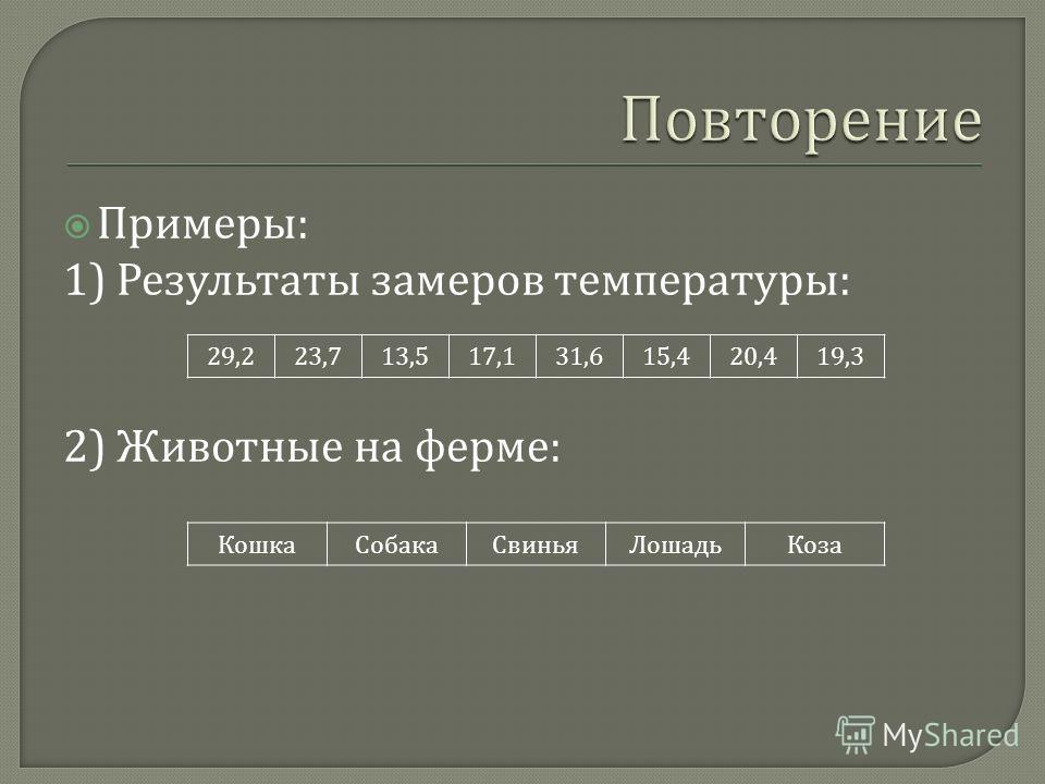 Примеры : 1) Результаты замеров температуры : 2) Животные на ферме : 29,223,713,517,131,615,420,419,3 КошкаСобакаСвиньяЛошадьКоза