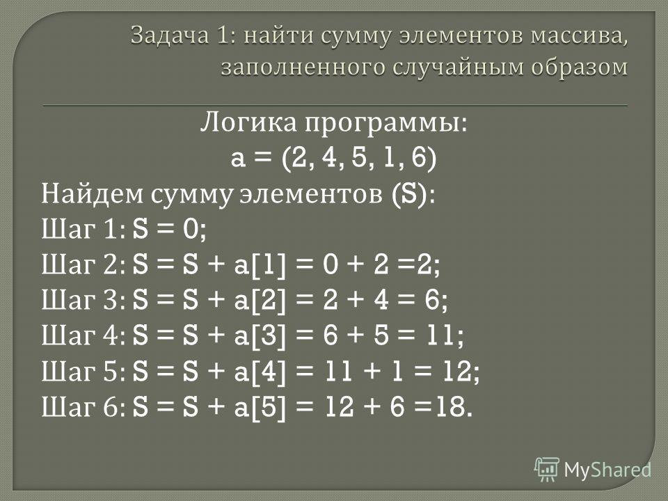 Логика программы : a = (2, 4, 5, 1, 6) Найдем сумму элементов (S): Шаг 1: S = 0; Шаг 2: S = S + a[1] = 0 + 2 =2; Шаг 3: S = S + a[2] = 2 + 4 = 6; Шаг 4: S = S + a[3] = 6 + 5 = 11; Шаг 5: S = S + a[4] = 11 + 1 = 12; Шаг 6: S = S + a[5] = 12 + 6 =18.
