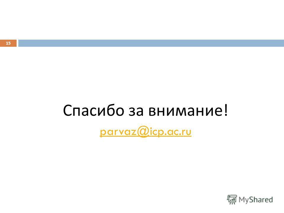 Спасибо за внимание ! parvaz@icp.ac.ru 15